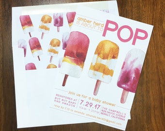 About to Pop Baby Shower Invite- Going to Pop - Baby Shower Invitation - Popsicle Invite