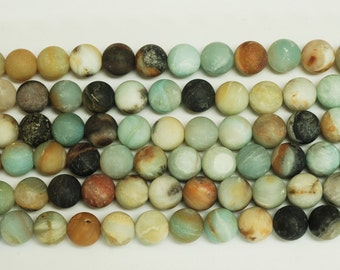 Amazonite Faceted Round Shape Beads ( matte  finished )