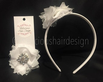 Julie Chiffon Flower clip/headband - White