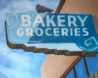 Bakery Sign, Bird, Crow, Raven, Photo of Acrylic Painting