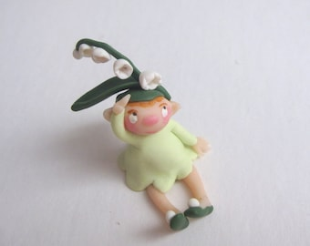 Tiny lily of the valley fairy miniature figurine doll