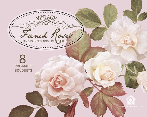 Floral Clipart Wedding Floral Clip Art Hand Drawn Watercolor Flowers Clipart Flower Floral Clip Art - French Vintage Roses Bouquets