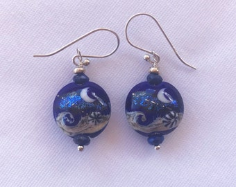 Blue and Silver Lampwork Ball Earrings with Ocean Moon Design