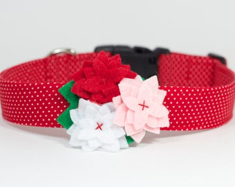 Valentine's Day Dog Collar with Flower - Red Polka Dots