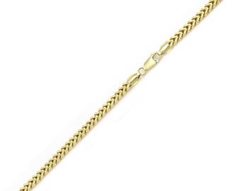 "10K Yellow Gold Hollow Franco Bracelet 2.0mm 7-9"" - Box Chain Link"