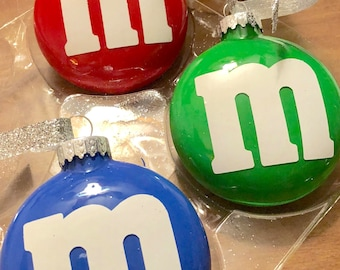 Painted M&M Glass Disc Ornament