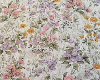 Botanical Fabric, Vintage French Floral Fabric, Vintage Sheet Fabric, French Fabric, Vintage Botanical Fabric, 1970s Sheet Fabric, Sheets