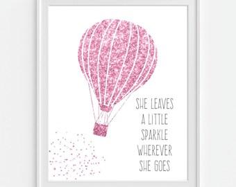 Hot Air Balloon Art Print, Faux Glitter 'She Leaves A Little Sparkle...' Pink Wall Art, Pink Decor, Nursery Wall Art, Nursery Decor