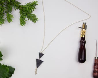 Long leather triangle drop necklace, geometric necklace, minimalist leather necklace, simple necklace, upcycled black leather necklace