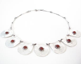 Modernist Hand Made Sterling Silver Bib Collar Necklace Set With Carnelian Stones Signed