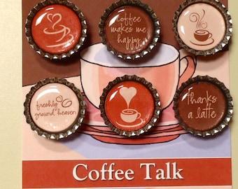 Coffee Talk Themed Bottle Cap Magnets