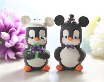 Mouse ears hats Penguins cake toppers wedding - Mouse inspired cartoon black white bride groom purple wedding cute funny