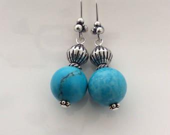 Turquoise earrings, genuine turquoise earrings with sterling silver beads and ear hooks, dangle earrings, summer earrings