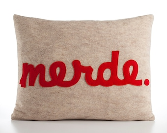 "Decorative Pillow, Throw Pillow, ""Merde"" pillow, 14x18 inch"