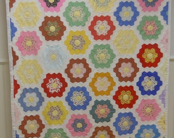 Never Used!    Vintage Grandmother's Flower Garden Quilt.  Hand Done.    From Georgia.