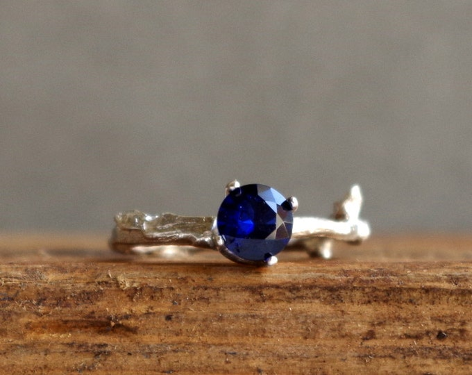 Blue Sapphire Twig Ring Alternative Engagement Ring Sterling Silver Botanical Ring September Birthstone