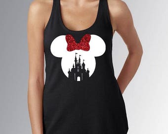 Disney minnie castle tanktop glitter customized women tank - tshirt - vneck for adults and youth - toddlers - real glitter washable