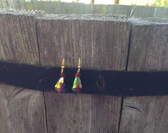 Multifaceted iridescent glass earrings