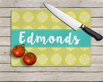 Teal & Chartreuse Last Name Stitched Banner-  Tempered Glass Cutting Board