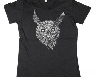 Womens Owl -  Black Owl Tshirt - Women Owl Shirt - Night Owl Tshirt - Eco Friendly Organic Cotton - Small, Medium, Large, XL