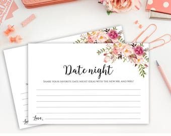 Date Night Cards, Date Night Idea Cards, Wedding Date Night Cards, Date Night Ideas, Date Jar, Wedding Printables, Shower Game Cards, C1