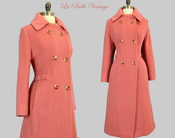Salmon Fuzzy Wool Coat L Vintage 70s Fit and Flare Peacoat ~ Deadstock