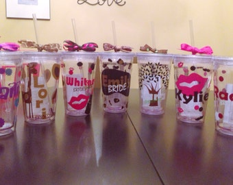 Personalized  Tumbler Cup Glass Wedding