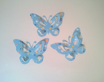 "The sticker paper with adhesive ""Pretty butterflies"" blue"