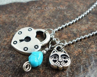 Sleeping Beauty Turquoise, Heart Lock & Kitty Face Charm Necklace, Stainless Steel Ball Chain
