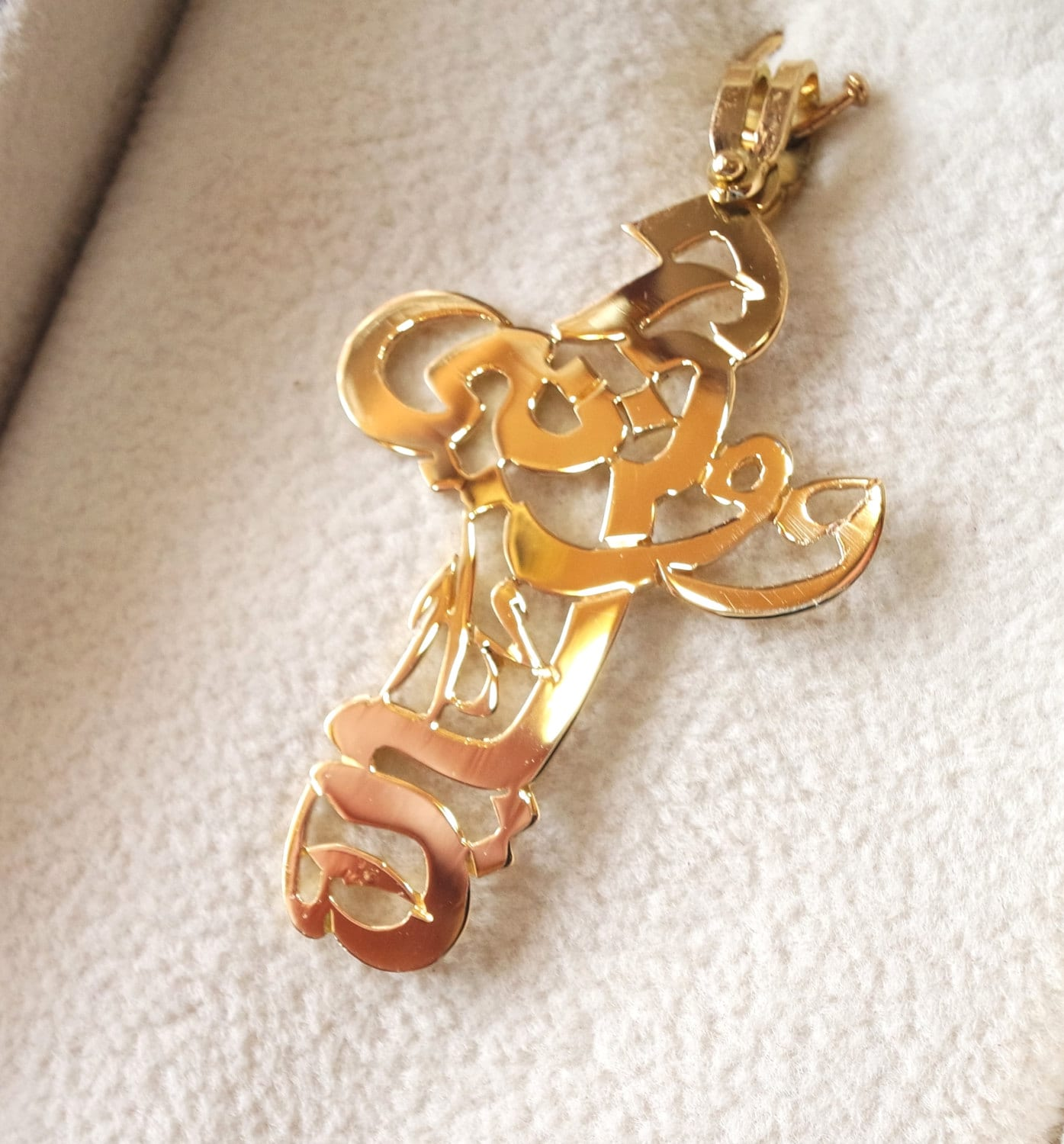 customized arabic names cross 18 k gold handmade calligraphy
