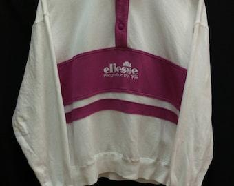 Vintage ELLESSE Perugia Italia//Sweatshirt Jumper//Half Snap Button//Saiz M Jaspo//Made In Japan