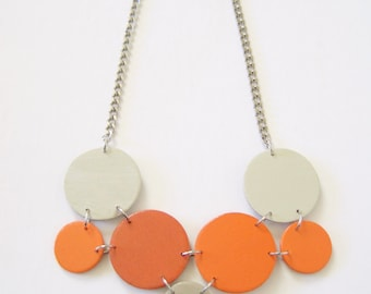 Modern geometric wooden necklace- in orange and beige - modern, contemporary, minimalist handmade jewelry- eco friendly