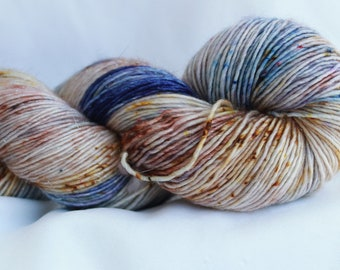 JEWL-RIFIC (Speckled Stellina)hand dyed super wash merino single sock (100 grams) 400 yds