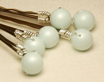 Pastel Blue Pearl Bobby Pins, Baby Blue 8 mm Swarovski Crystal Pearls on Bronze Hair Pins, Set of 6, Wedding Hair Pins, Wedding Bobby Pin