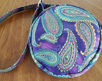 """Paisley in Gold, Round Purse, Shoulder Strap, 8"""" Across"""