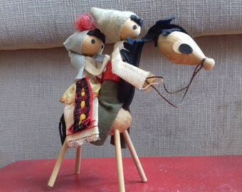 Vintage hand made folk art/Hand made figurine/ Couple of peasants on a donkey-made of wood and canvas- from 70's
