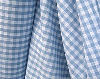 Fabric pure cotton gingham light blue white 1 cm x 1 cm Vichy