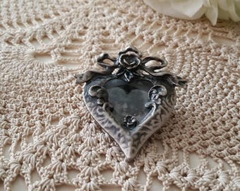 Vintage Victorian Inspired Pewter Heart Brooch Heart Locket The Wild Vintage Rose