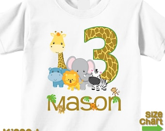 Personalized Jungle Safari Birthday Party T-shirt Bodysuit Shirt Giraffe Elephant Leopard Monkey Tiger Hippo Zebra Lion 1st 2nd 3rd 4th 5th