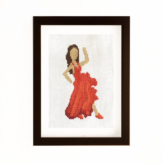 5 x 7 Dama de Cruz decorativa rojo Emoji puntada de arte con