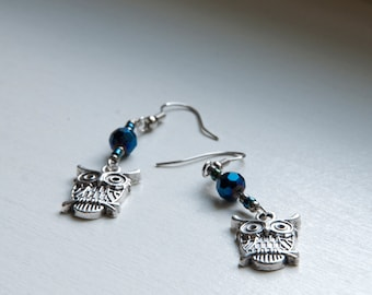 silver owl earrings - owl earrings - owl charms - owl jewelry - steam punk owl earring - steam punk owl jewelry -sapphire beads