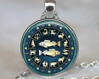 Pisces Blue Wheel necklace, Pisces necklace astrology jewelry Pisces pendant Zodiac jewelry Zodiac keychain key chain key ring key fob