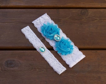 Aqua garter set, something blue, Wedding Garter Set, Bridal Garter Set, Lace Garter, Turqouise Garter Set, Pearl Garter, vintage