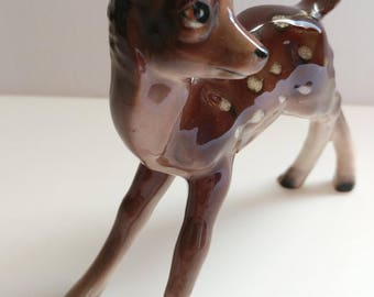 Kitsch Deer Fawn Figurine  Bone China Vintage Hand Decorated Cute Decor - 4.5 Inches Long