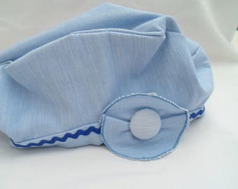 Sky blue cotton beret