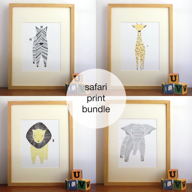 Safari Nursery Art Gender Neutral Baby Animal Prints