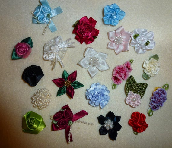 "Puppy Dog Bows ~ Assortment of all colors, multi styles 1"" ribbon roses and flowers dog bow pet hair on snap clips"