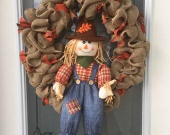 Autumn Scarecrow Wreath // Fall Wreath // Fall Decor // Thanksgiving Decor