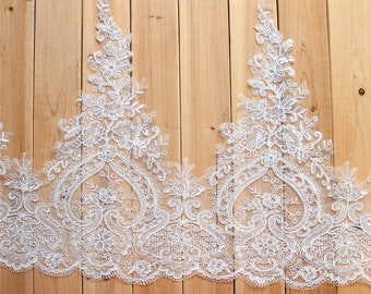 "Sequins Venice Alencon Lace Trims Bobbin Lace Broderie Anglaise 54cm 21.2"" Victorian Embroidered Wedding Lace Trimming White LL322"