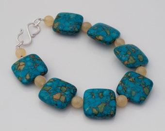 Howlite & honey jade bracelet